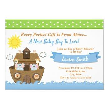 Noah's Ark Baby Shower Invitation Boy Baby Shower