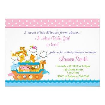 Noah's Ark Girl Baby Shower Invitation 5x7 Card