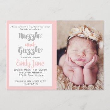 Nuzzle And Guzzle Baby Photo Invitation