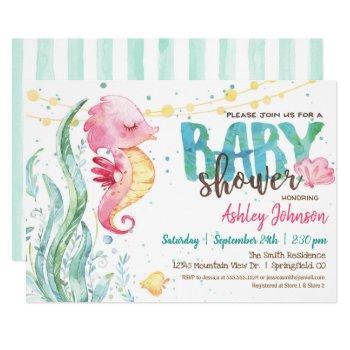 Ocean Baby Shower, Girl Pink Seahorse Invitation