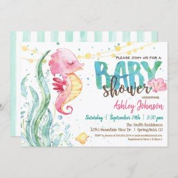 Ocean Baby Shower, Girl Pink Seahorse Invitation