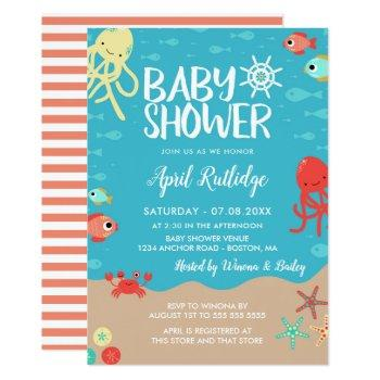 Ocean Life Nautical Baby Shower Invitation