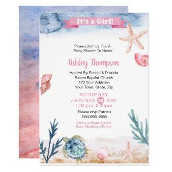 Ocean Sea Turtle Girls Baby Shower Invitation