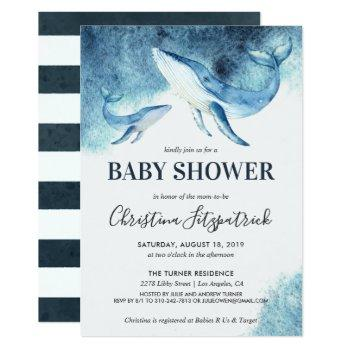 Ocean Whale Baby Shower Invitation