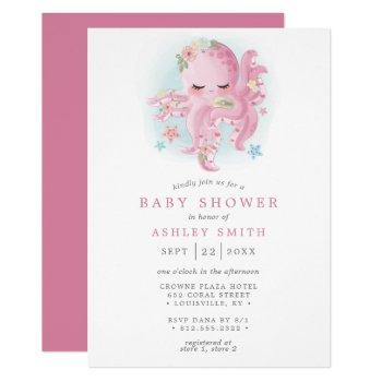 Octopus Cute Pink Watercolor Girl Baby Shower Invitation