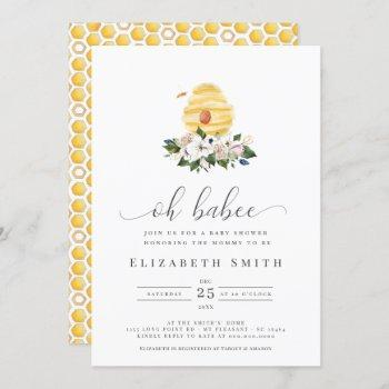 Oh Babee Watercolor Bee Yellow Floral Baby Shower Invitation