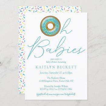Oh Babies Donut Sprinkle Twin Boys Baby Shower Invitation