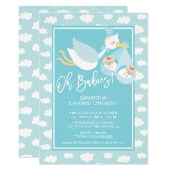 Oh Babies! Stork Twin Boys Baby Shower Invitation