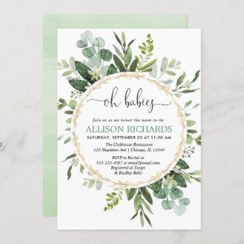 Oh Babies Twins Gender Neutral Greenery Eucalyptus Invitation