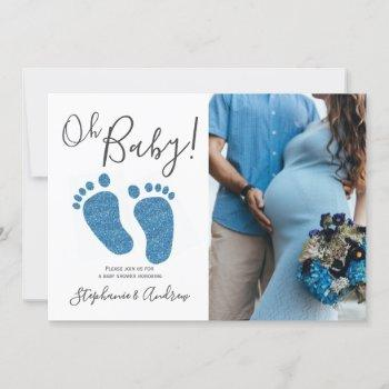 Oh Baby Boy Couples Photo Blue Baby Shower Invitation