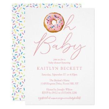 Oh Baby Donut Sprinkle Girls Baby Shower Invitation