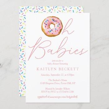 Oh Baby Donut Sprinkle Twin Girls Baby Shower Invitation