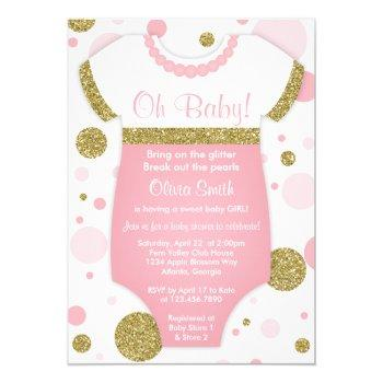 Oh Baby Girl, Baby Shower Invitation, Faux Gold Invitation