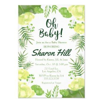 Oh Baby! Green Floral Tropical Baby Shower Invite