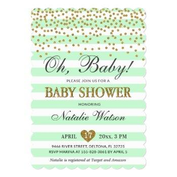 Oh Baby Mint Green Gold Gender Neutral Baby Shower Invitation