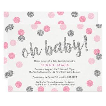 Oh Baby Pink & Silver Glitter Girl Baby Sprinkle Invitation