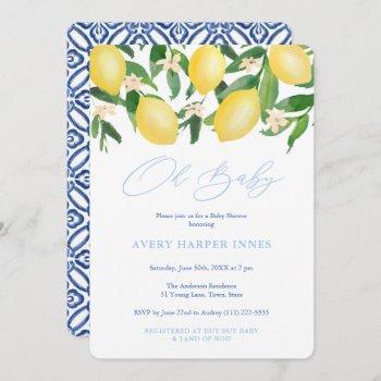 Oh Baby Positano Lemons Blue Boy Baby Shower Invitation