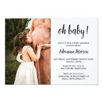 Oh Baby Script Pink Baby Shower Photo Chevron Invitation