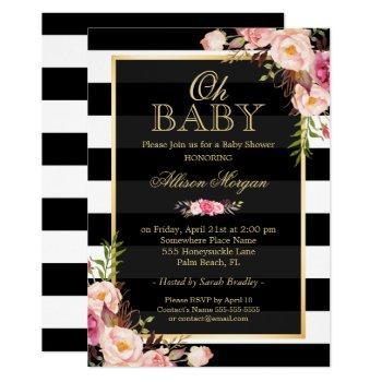 Oh Baby Shower Black Gold Vintage Floral Decor Invitation