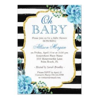 Oh Baby Shower Blue Floral Gold Black Stripes Invitation