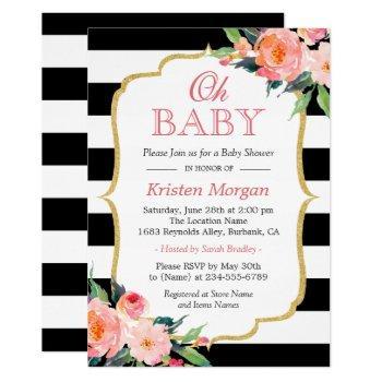 Oh Baby Shower Modern Floral Gold Frame Stripes Invitation