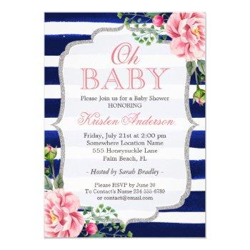 Oh Baby Shower Pink Floral Silver Navy Blue Stripe Invitation