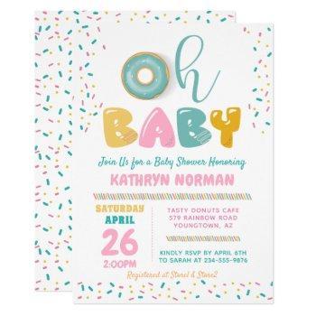 Oh Baby Sprinkle Donut Baby Shower Invitation