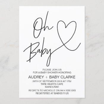 Oh Baby - Unisex Baby Shower Invitation