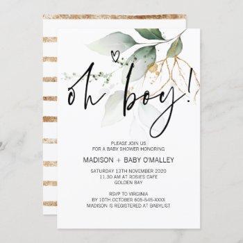 Oh Boy Baby Shower Party Modern Eucalyptus