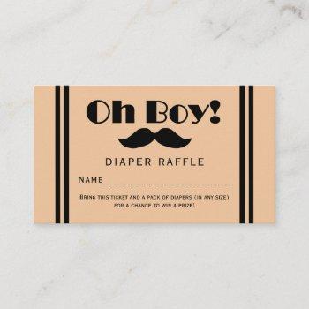 Oh Boy Black Mustache Baby Diaper Raffle Ticket Enclosure Card