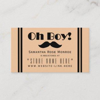 Oh Boy Black Mustache Baby Shower Gift Registry Enclosure Card