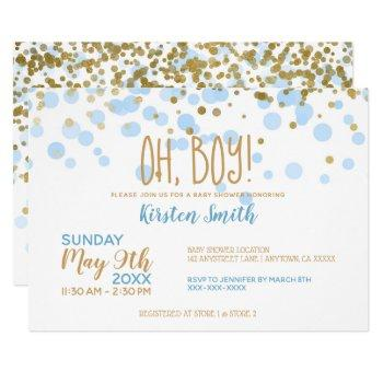 Oh Boy! Blue & Gold Confetti Boy Baby Shower Invitation