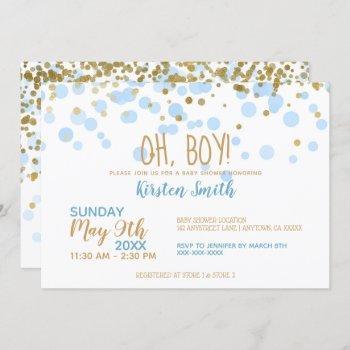 Oh Boy! Blue & Gold Confetti Boy Baby Shower Invitation