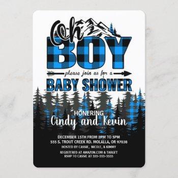 Oh Boy Blue Plaid Lumberjack Shower Invitation