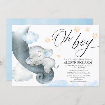 Oh Boy Blue Yellow Elephant Baby Shower Invitation