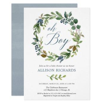 Oh Boy Greenery Leaves Dusty Navy Blue Floral Boy Invitation