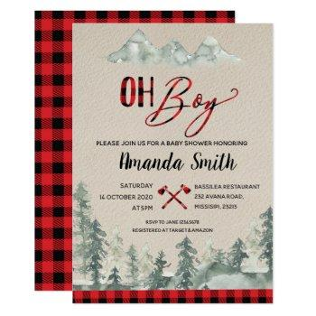 Oh Boy Lumberjack Forest Baby Shower Invitation