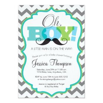 Oh Boy Mustache Baby Shower Invitation