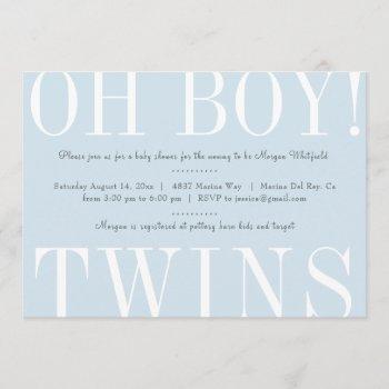 Oh Boy Twins Baby Shower Invitation