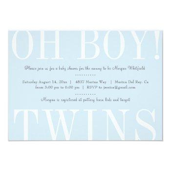 Oh Boy Twins Baby Shower Invitation