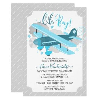 Oh Boy Vintage Airplane Baby Shower Blue And Grey Invitation
