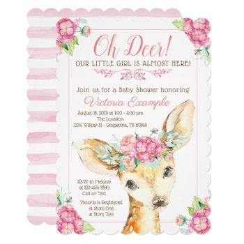 Oh Deer Baby Girl Shower Invitations