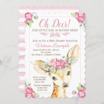 Oh Deer Baby Girl Shower Invitations