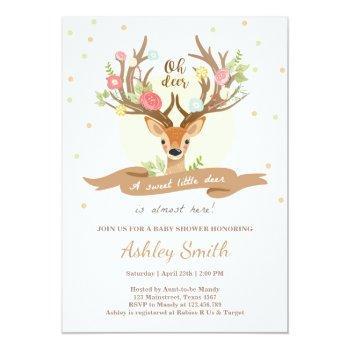 Oh Deer Baby Shower Invitation Woodland Antlers