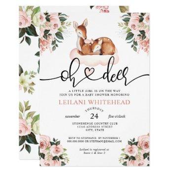 Oh Deer Baby Shower Watercolor Botanical Floral Invitation