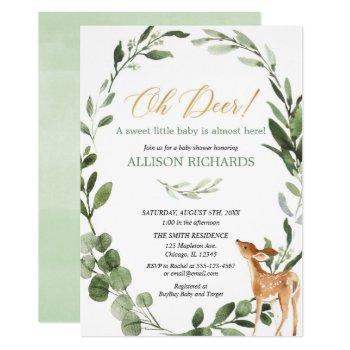 Oh Deer Gender Neutral Greenery Gold Baby Shower Invitation
