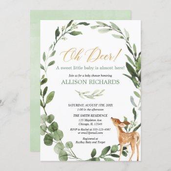 Oh Deer Gender Neutral Greenery Gold Baby Shower Invitation