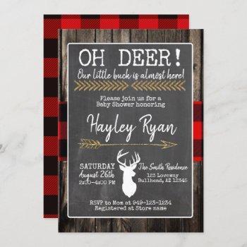 Oh Deer! Little Buck Buffalo Plaid Baby Shower Invitation