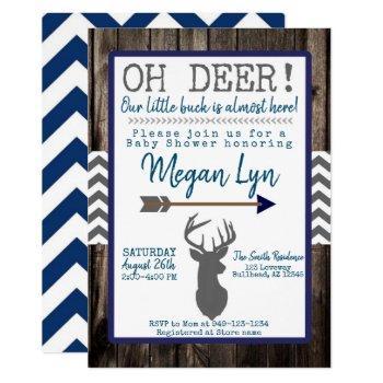 Oh Deer! Little Buck Navy Grey Chevron Baby Shower Invitation