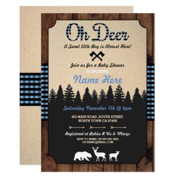 Oh Deer Lumberjack Blue Baby Shower Boy Invitation
